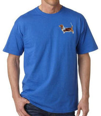 Basset Hound Custom Machine Embroidered Mens Tshirt