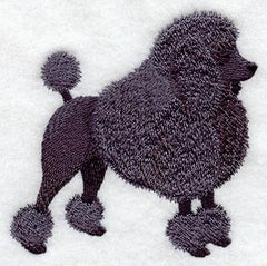 Black Poodle Custom Machine Embroidered Ladies Tshirt