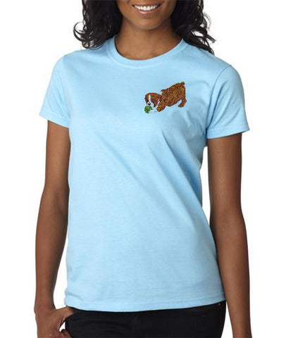 English Bulldog Custom Machine Embroidered Ladies Tshirt