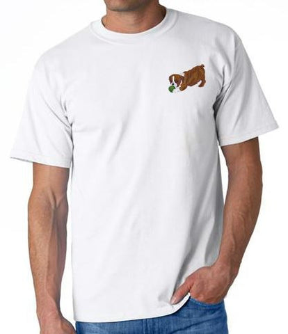 English Bulldog Custom Machine Embroidered Mens Tshirt