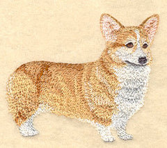 Corgi Custom Machine Embroidered Mens Tshirt