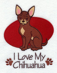 I Love My Chihuahua Custom Machine Embroidered Mens Tshirt