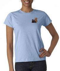 Yorkshire Terrier Custom Machine Embroidered Ladies Tshirt