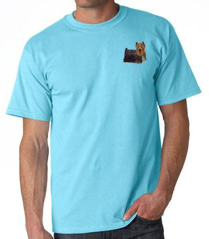 Yorkshire Terrier Custom Machine Embroidered Mens Tshirt