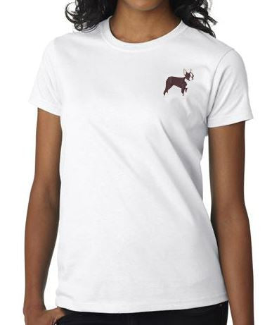 Boston Terrier Custom Machine Embroidered Ladies Tshirt