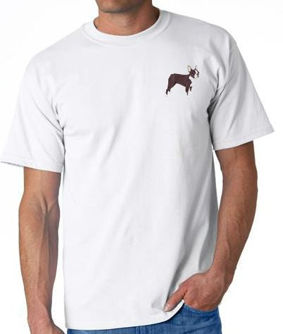 Boston Terrier Custom Machine Embroidered Mens Tshirt