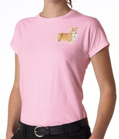Corgi Custom Machine Embroidered Ladies Tshirt