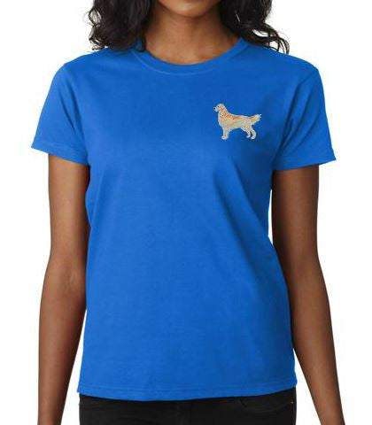 Golden Retriever Custom Machine Embroidered Ladies Tshirt