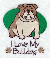 I Love My Bulldog Custom Machine Embroidered Mens Tshirt