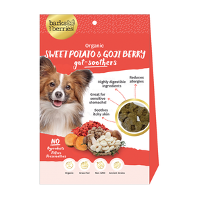 Organic Dog Treats - Sweet Potato and Goji Berry Gut-Soothers  Edit alt text