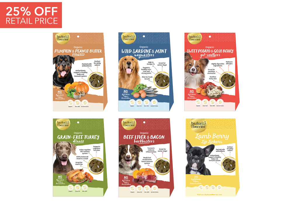 Load image into Gallery viewer, Organic Dog Treats Sampler Pack - 6 Dozen Organic Dog Treats