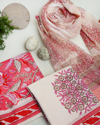 Pink Hand Block Printed Cotton Unstitched Suit Fabric Set