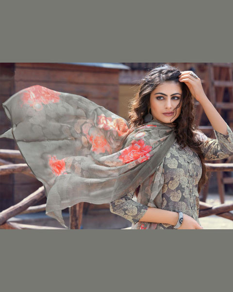 Gray Cotton Printed Suit Fabric Set with Neck Embroidery