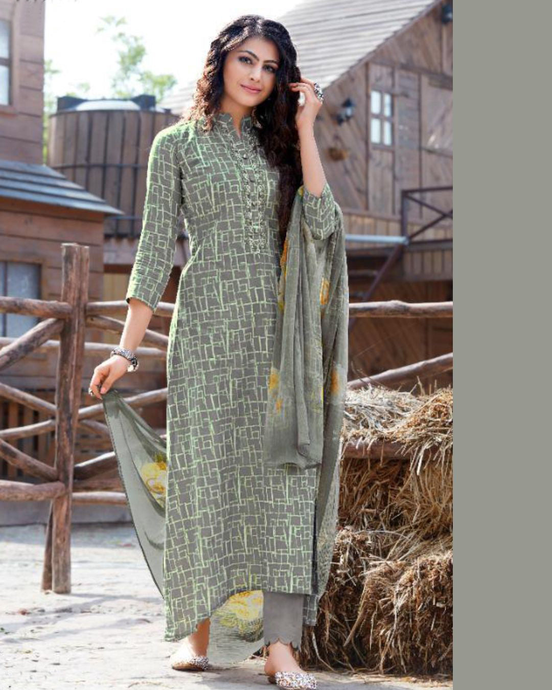 Green-Gray Cotton Printed Suit Fabric Set with Neck Embroidery
