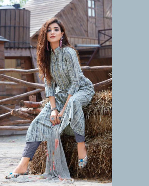 Light Steel Blue Cotton Printed Suit Fabric Set with Neck Embroidery