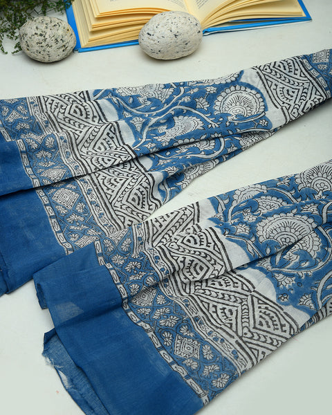 Grey-Blue Block Printed Cotton Unstitched Suit Fabric Set
