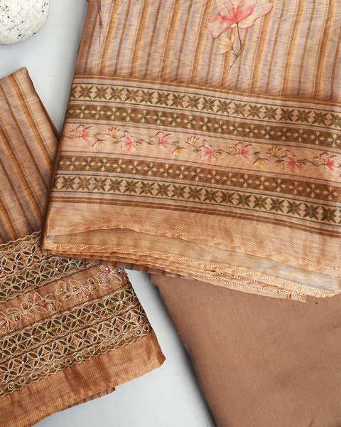 Light Brown Chanderi Unstitched Suit Fabric Set with Embroidery