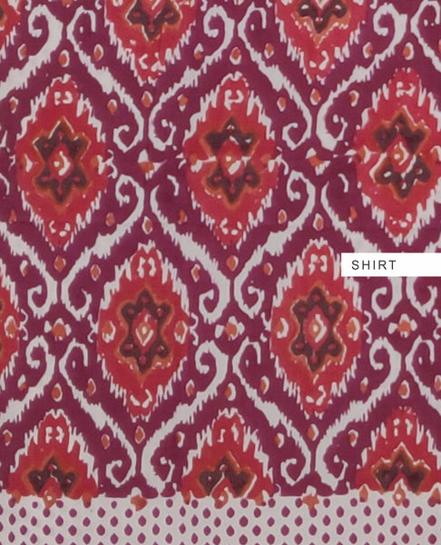 Earthy Wine with Multi Color Hand Block Printed Bizy Lizy Suit Fabric Set