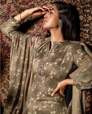 Brown Color Cotton Printed Suit Fabric Set with Neck Embroidery