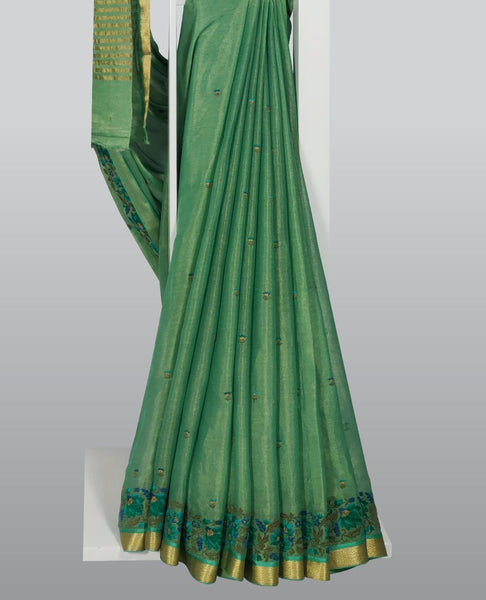 Medium Sea Green Georgette Embroidered Saree