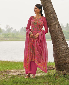 Pink Cotton Glazed Printed Suit Fabric Set With Embellishments