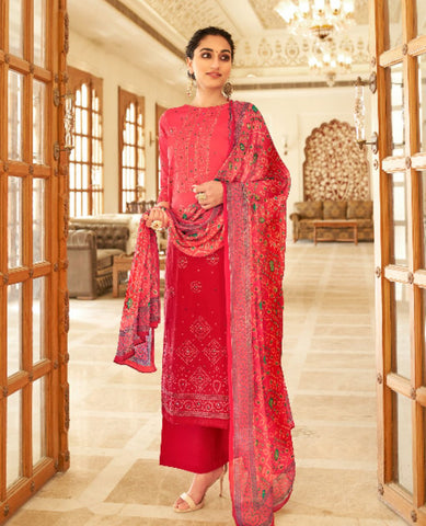 Pink Ombre Dyed Cotton Jaam Printed Suit Fabric Set with Embellishments