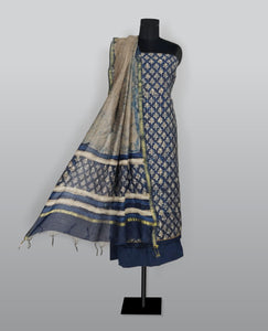 Delft Blue Cotton Printed With Kantha Work Suit Fabric Set