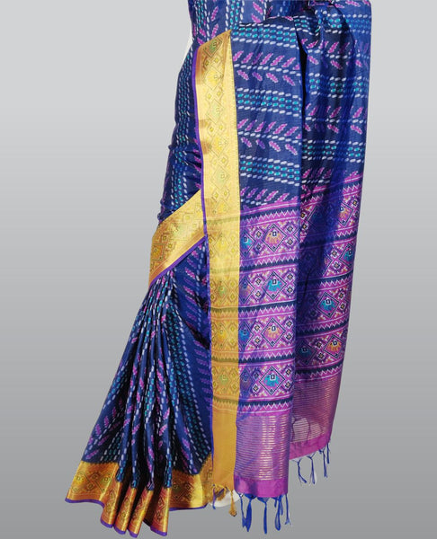 Midnight Blue Patola Print Silk Saree