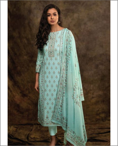Light Aquamarine Printed Cotton Unstitched Suit Fabric Set