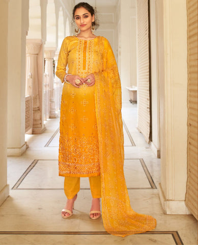 Yellow Ombre Dyed Cotton Jaam Printed Suit Fabric Set with Embellishments