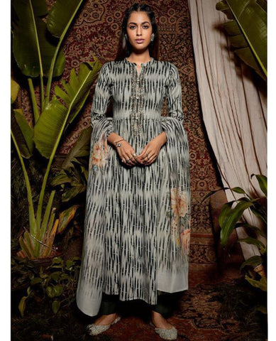 Dark Green Cotton Printed Suit Fabric Set with Neck Embroidery