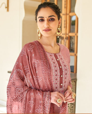Light Pink Ombre Dyed Cotton Jaam Printed Suit Fabric Set with Embellishments