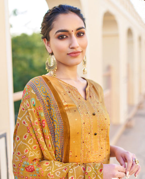 Gold Ombre Dyed Cotton Jaam Printed Suit Fabric Set with Embellishments
