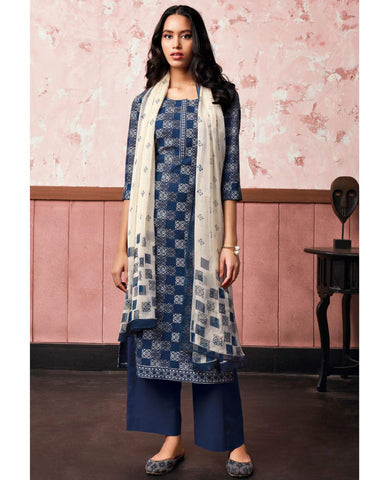 Blue Cotton Linen Printed Suit Fabric Set With Embroidery