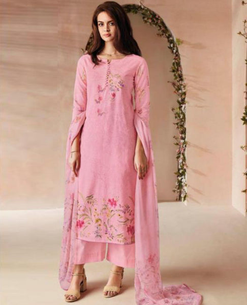Light Pink Printed Linen Suit Fabric Set