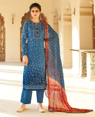 Blue Ombre Dyed Cotton Jaam Printed Suit Fabric Set with Embellishments