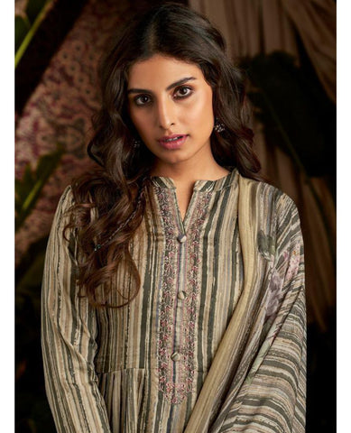 Grey-Green Cotton Printed Suit Fabric Set with Neck Embroidery