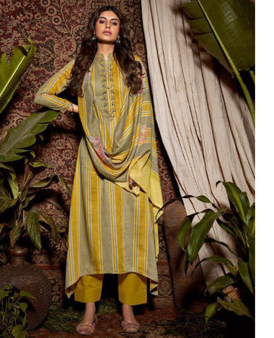 Yellow Cotton Printed Suit Fabric Set with Neck Embroidery