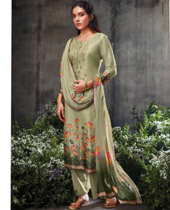 Dark SeaGreen Summer Silk Printed Suit Fabric Set With Embroidery