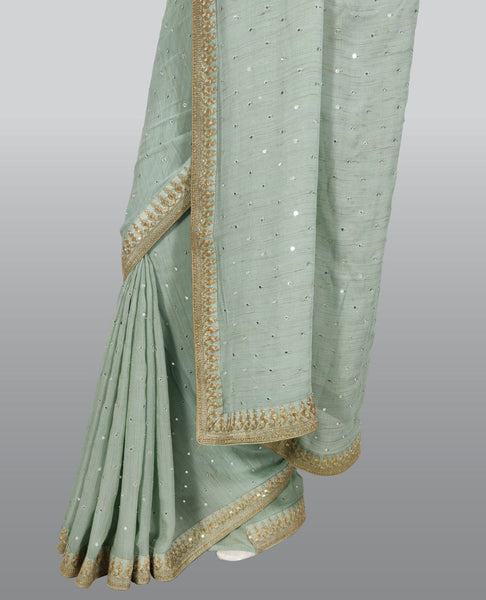 Light Blue Georgette Embroidered Saree