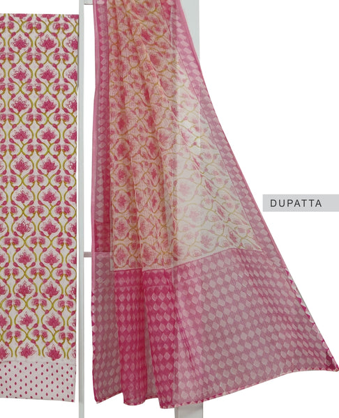 White with Pink and Parrot Green Hand Block Printed Cotton Suit Fabric Set