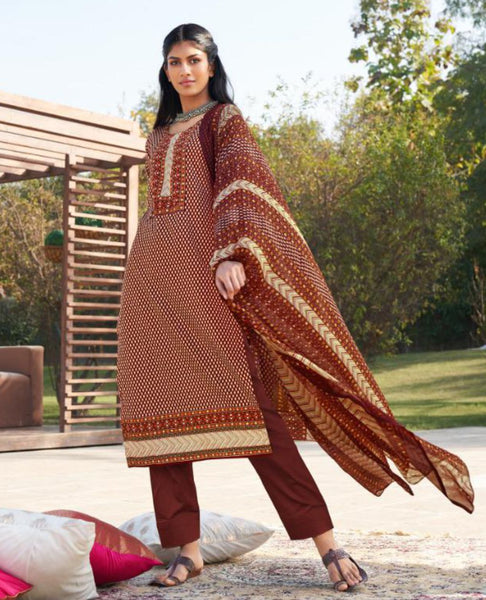 Dark Maroon Cotton Printed Unstitched Suit Fabric Set