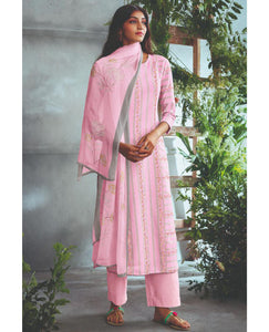 Powder Pink Linen Cotton Printed Suit Fabric Set With Sequence Highlight