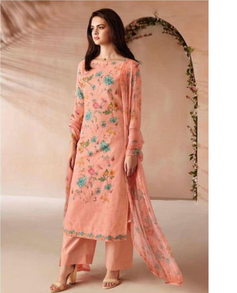 Peach Printed Linen Suit Fabric Set