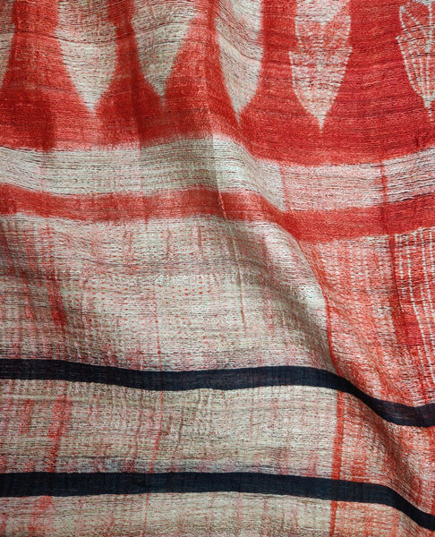 Orange-Red Shibori Geecha Silk Dupatta