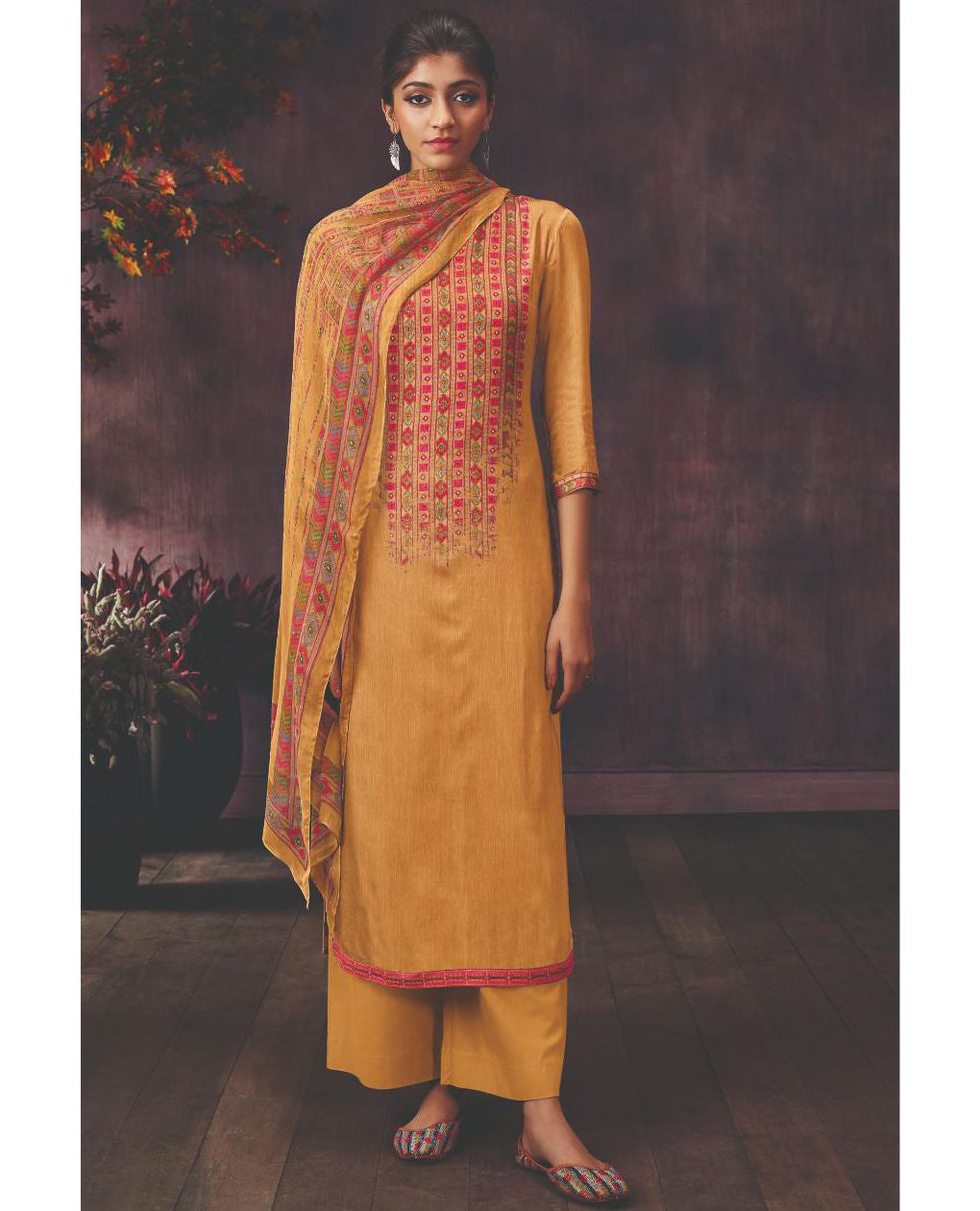 Mustard Modal Satin Printed Suit Fabric With Swarovski Highlights.