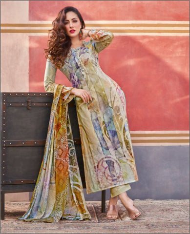 Light Green Lawn Cotton Printed Unstitched Suit Fabric Set