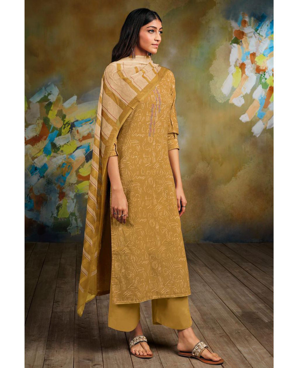 Mustard Printed Cotton Linen Suit Fabric Set