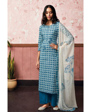 Light Blue Cotton Linen Printed Suit Fabric Set With Embroidery