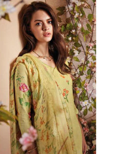 Lemon Printed Linen Suit Fabric Set